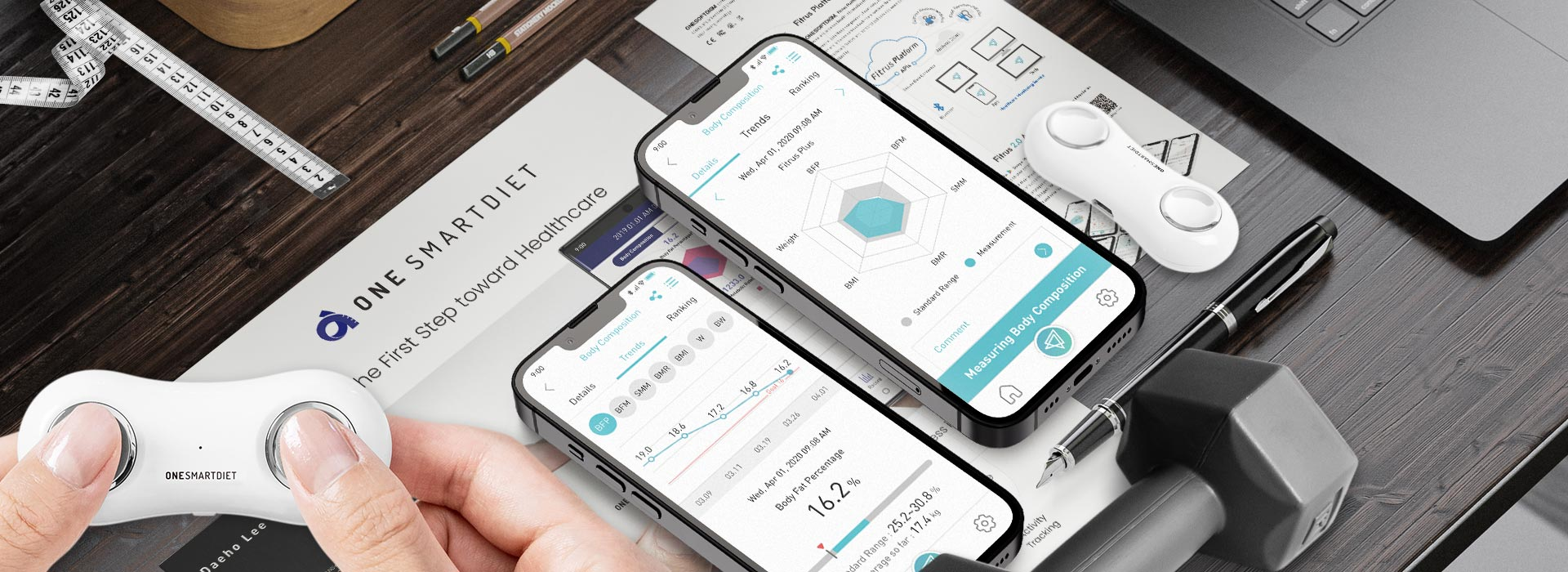 FITRUS, ONESMARTDIET, The Portable Body Composition Analyzer, Body Fat, Health Care, Fat Loss, Body Mass